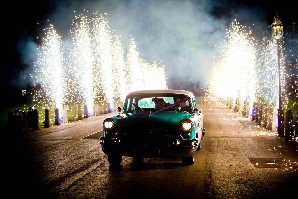 wedding car pyrotechnics